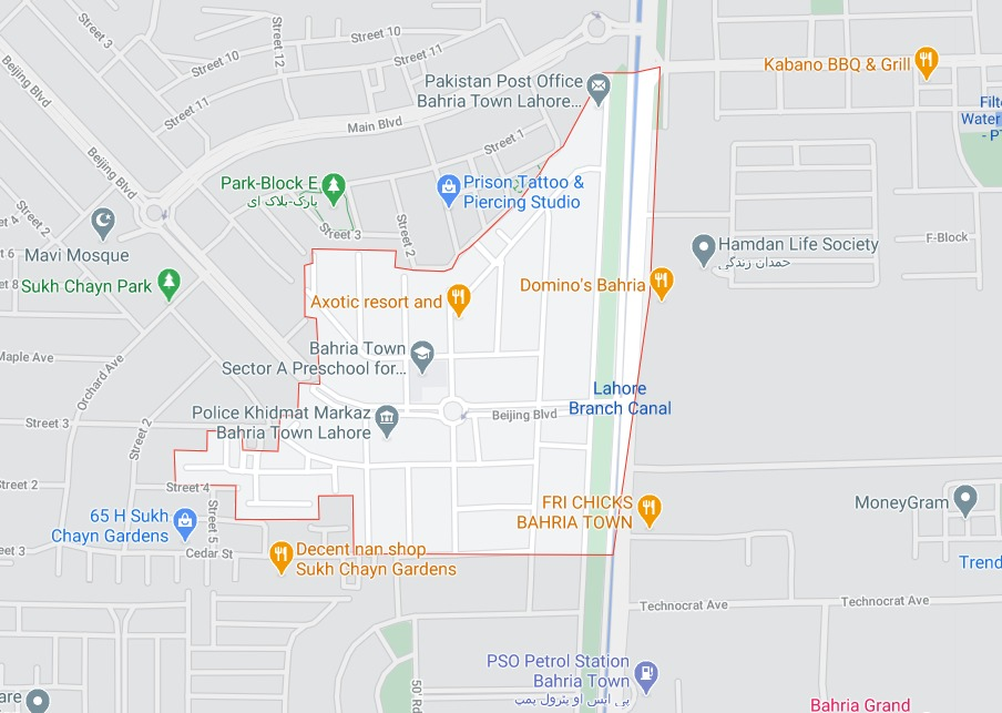 Bahria Town Lahore Sector A Map Location
